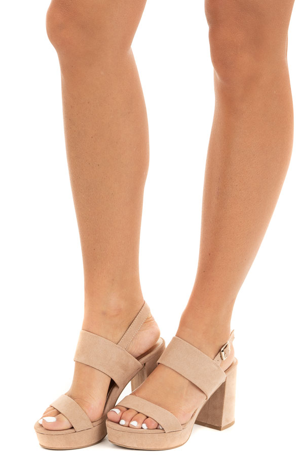 Beige Faux Suede Strappy Platform Heel with Buckle Closure side view