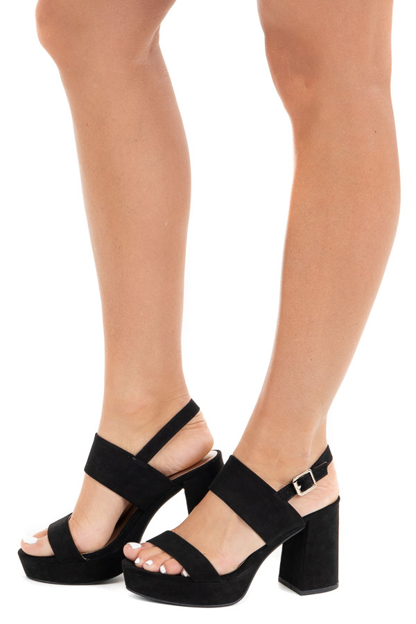 Black Faux Suede Strappy Platform Heel with Buckle Closure side view