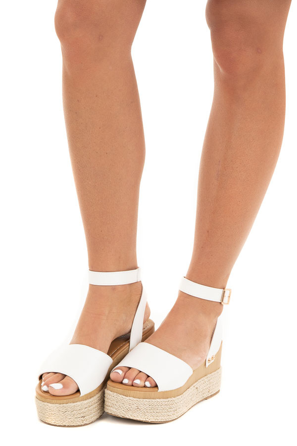 White and Tan Espadrille Sandals with Gold Stud Details side view