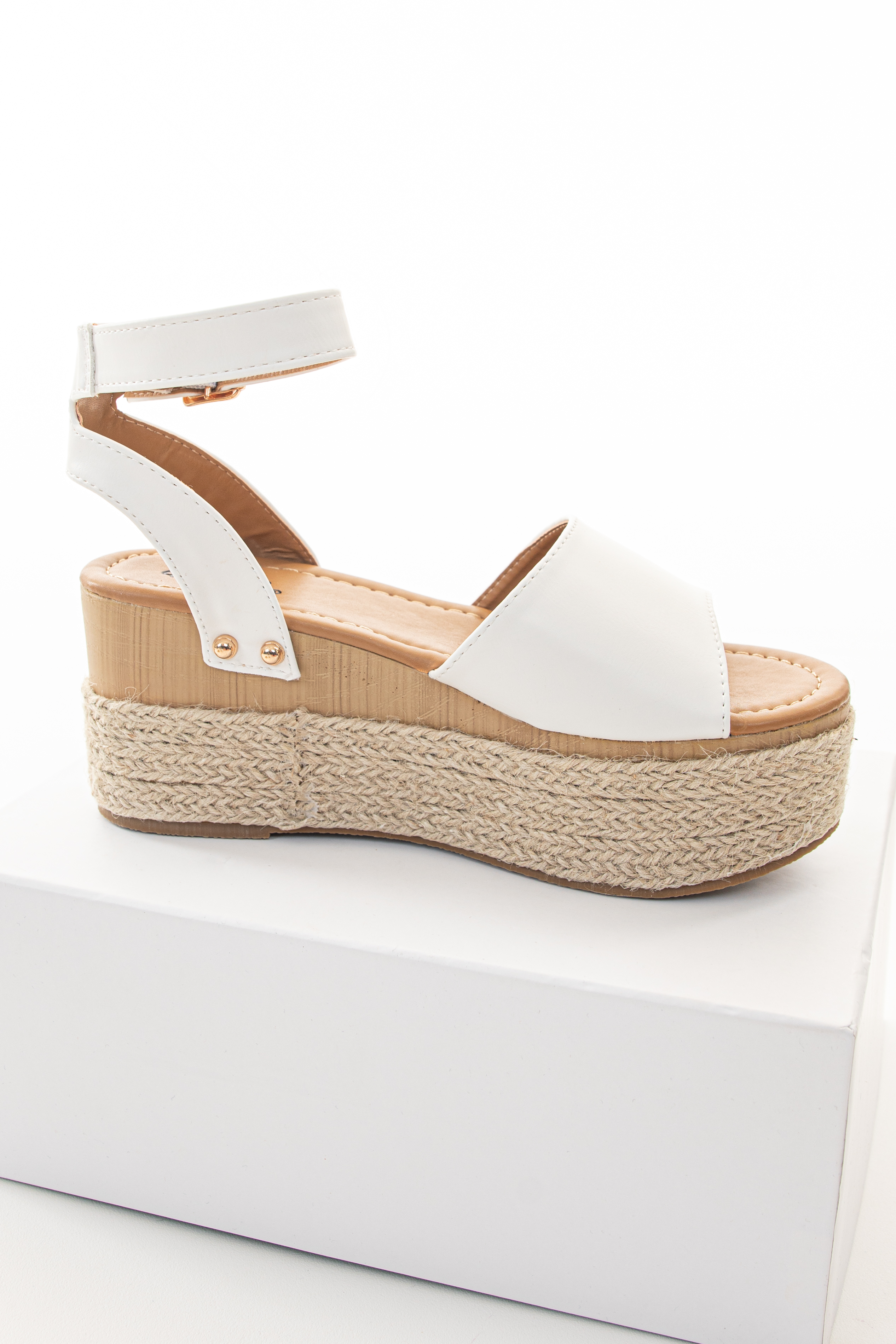 White and Tan Espadrille Sandals with Gold Stud Details