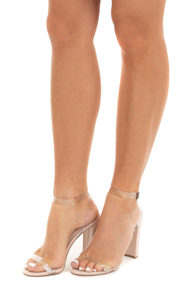 Soft Peach High Heel Open Toe Sandal with Clear Straps side view