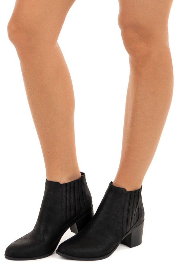 Black Faux Leather Bootie with Stacked Heel side view