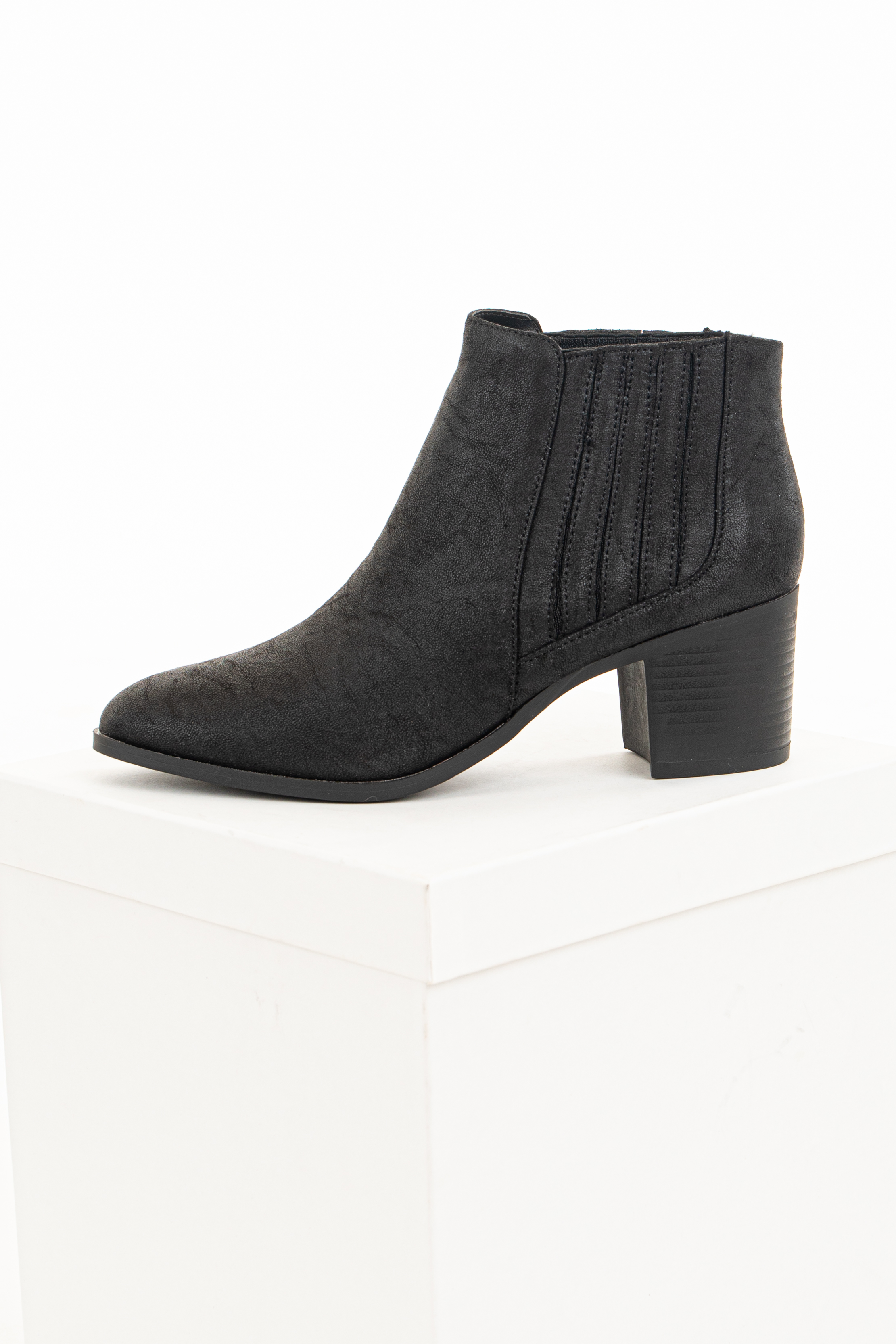 Black Faux Leather Bootie with Stacked Heel