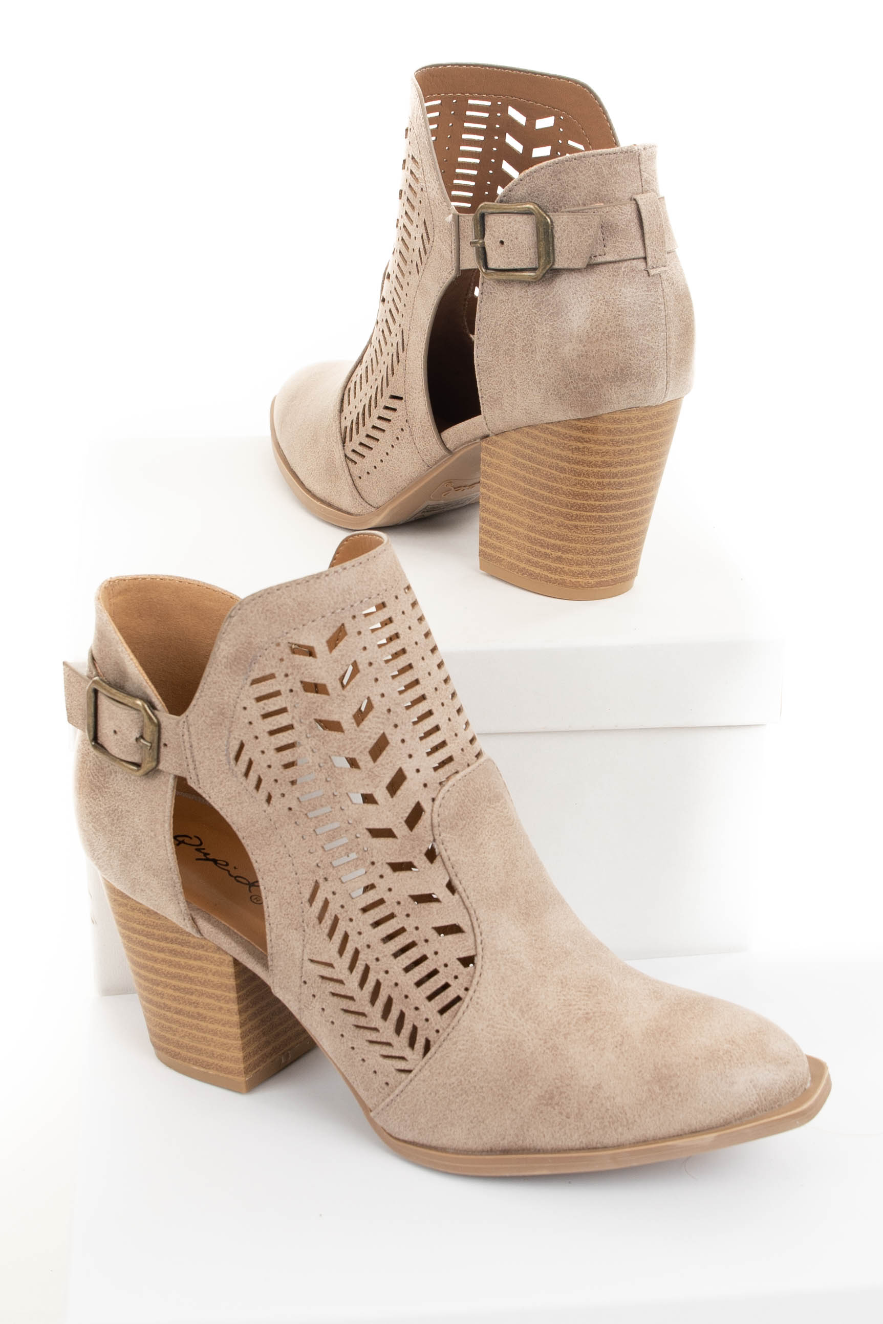Taupe Faux Leather Heeled Bootie with Cutout Details