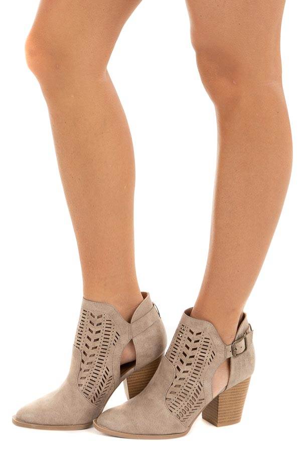 Taupe Faux Leather Heeled Bootie with Cutout Details side view
