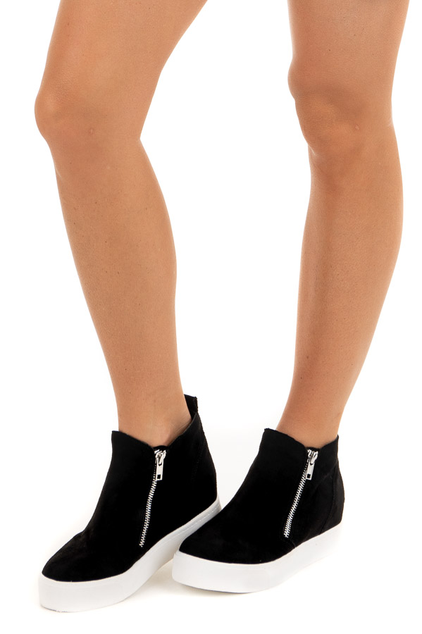 Black Faux Suede Sneaker with Hidden Wedge side view