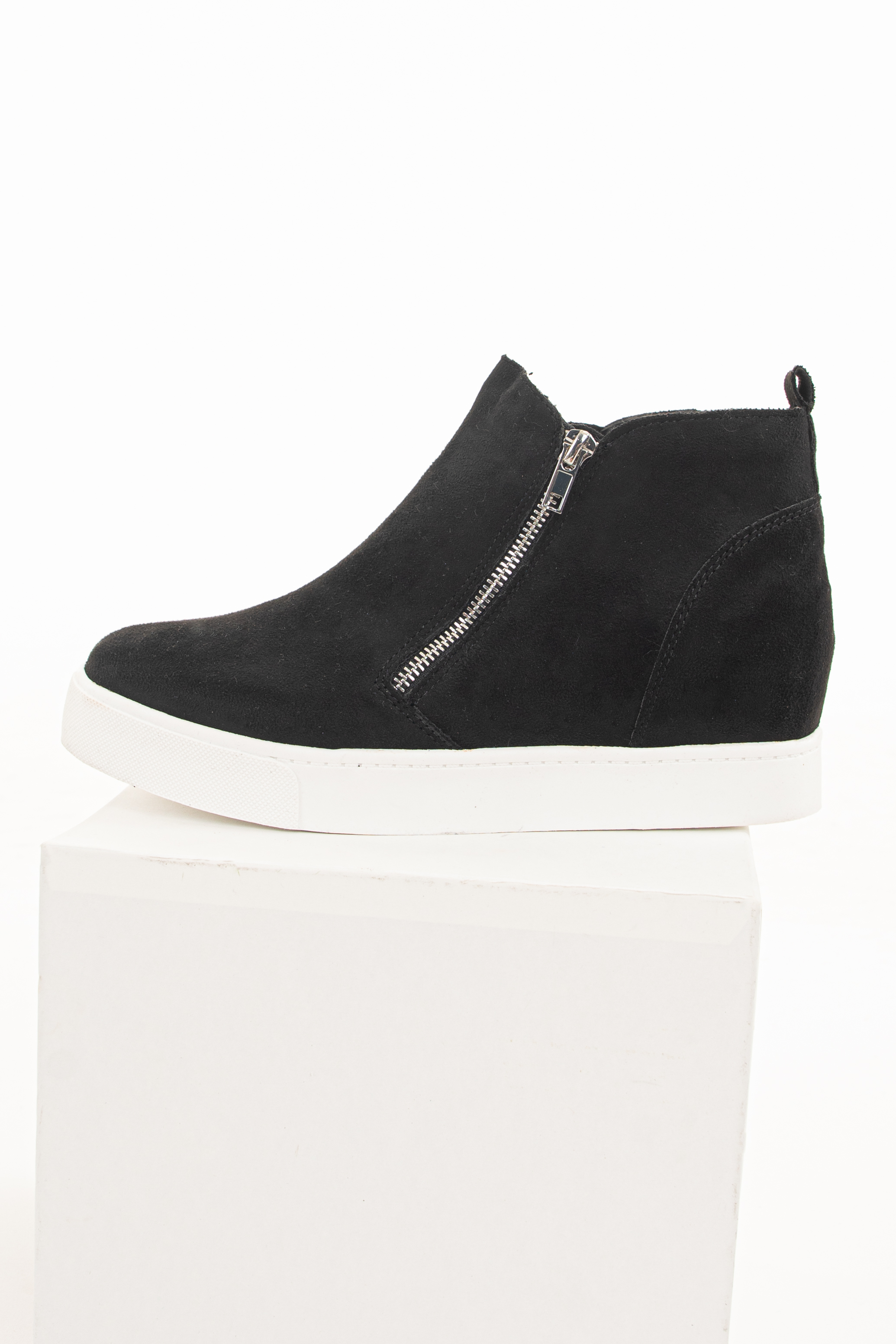 Black Faux Suede Sneaker with Hidden Wedge