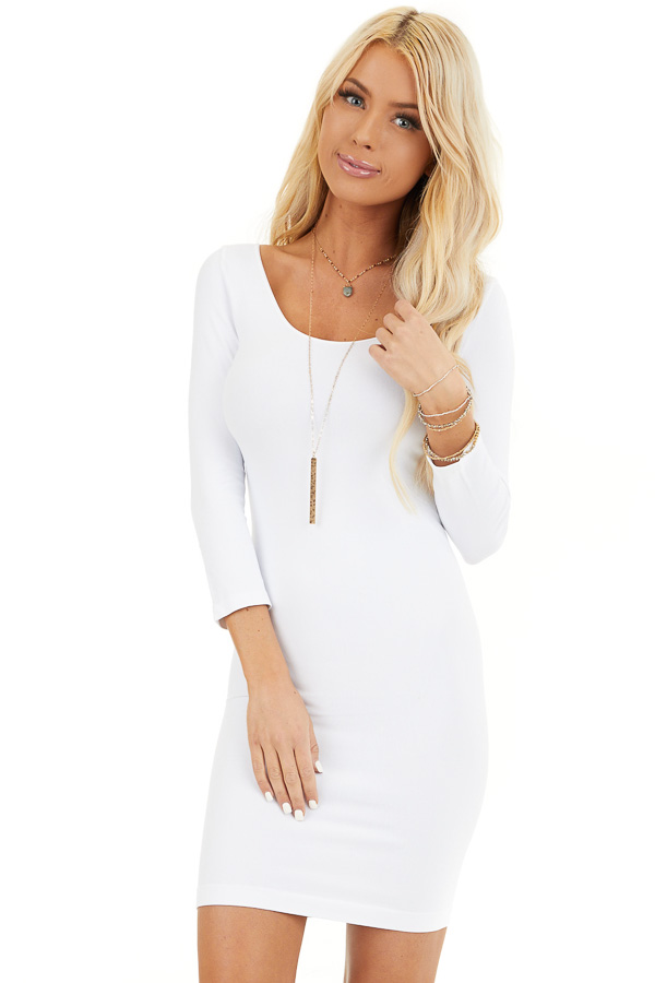 White 3/4 Sleeve Scoop Neck Dress front close up