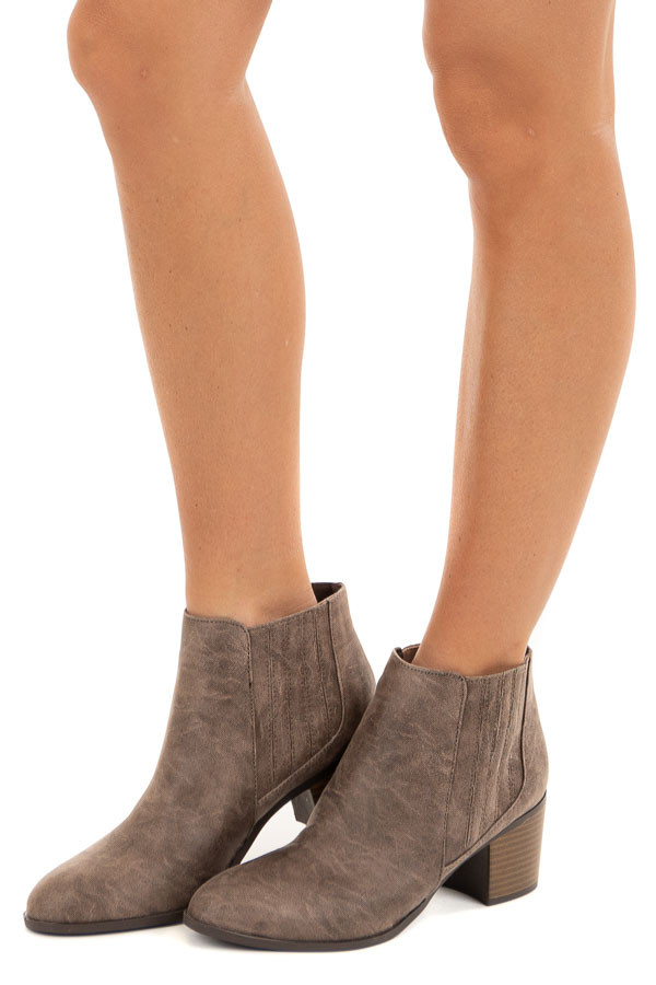 Dusty Taupe Faux Leather Bootie with Stacked Heel side view