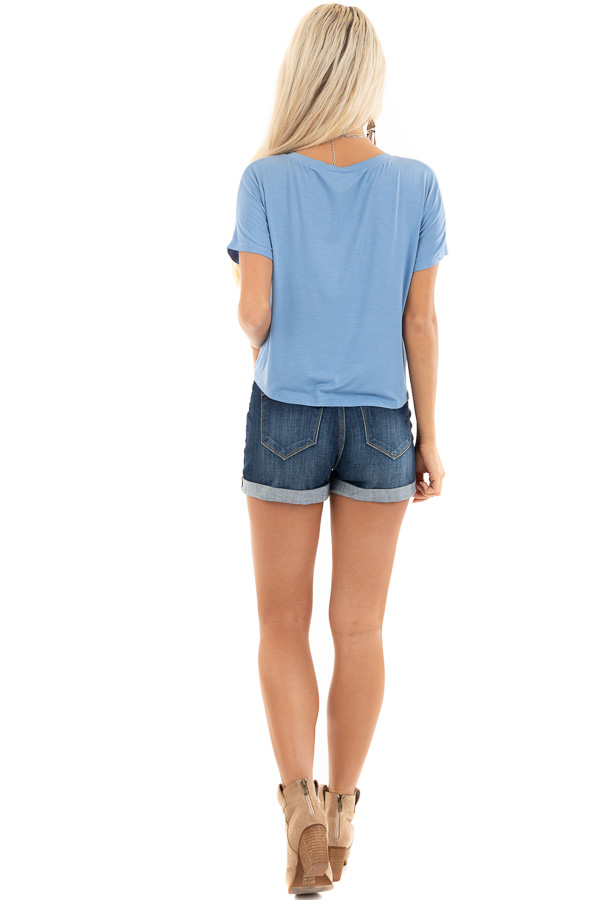 Sky Blue Short Sleeve Knit Top with Front Knot Detail back full body