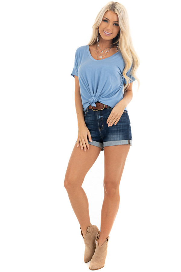 Sky Blue Short Sleeve Knit Top with Front Knot Detail front full body