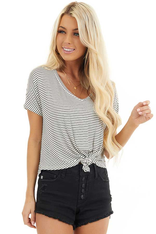 Black and White Striped Short Sleeve Top with Front Knot front close up