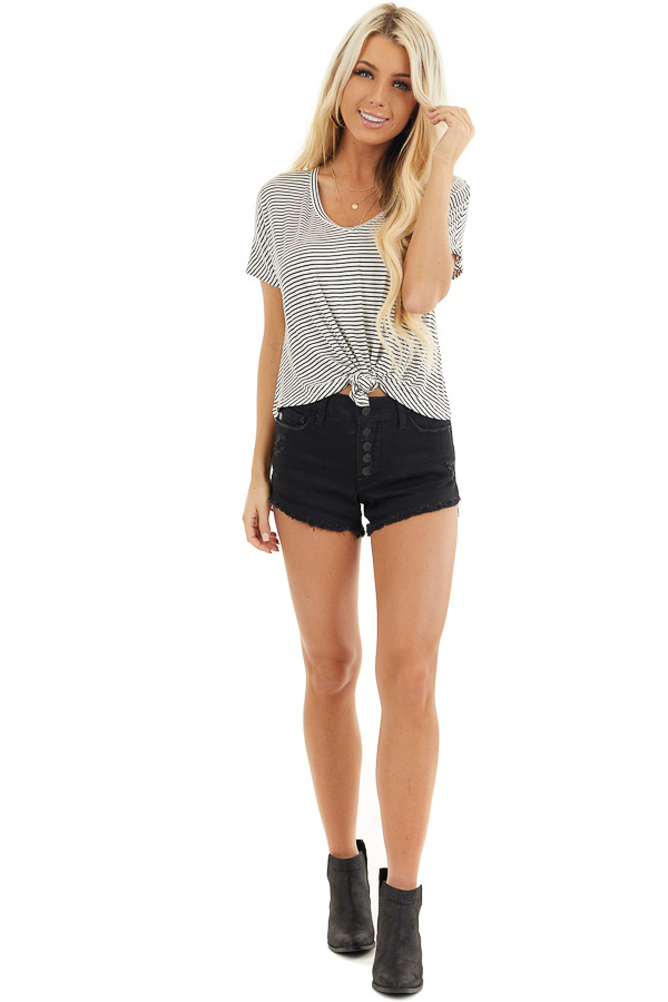 Black and White Striped Short Sleeve Top with Front Knot front full body