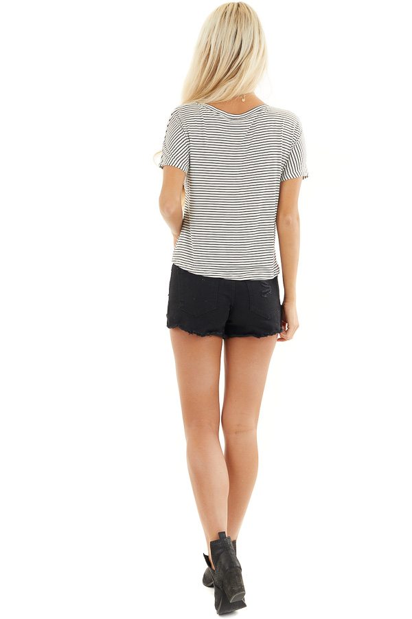 Black and White Striped Short Sleeve Top with Front Knot back full body
