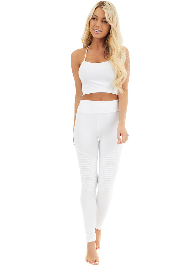 Off White High Waisted Stretchy Moto Leggings front full body
