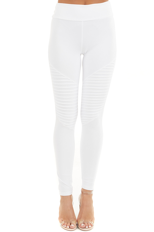 Off White High Waisted Stretchy Moto Leggings front view