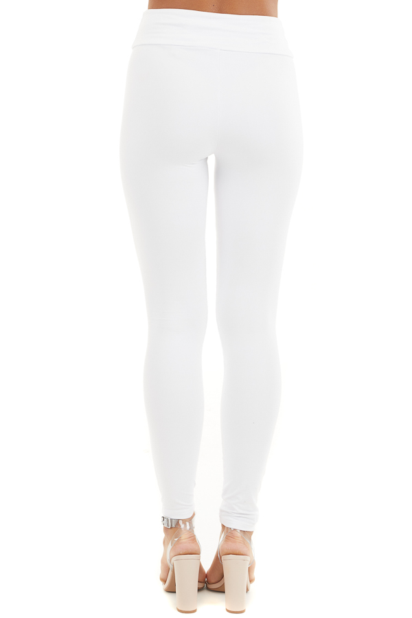 Off White High Waisted Stretchy Moto Leggings back view