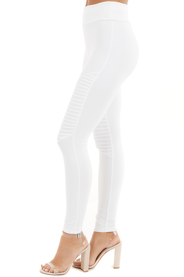 Off White High Waisted Stretchy Moto Leggings side view