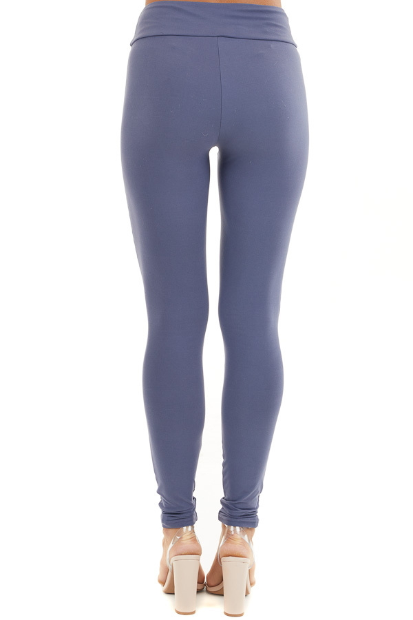 Stormy Blue High Waisted Stretchy Moto Leggings back view