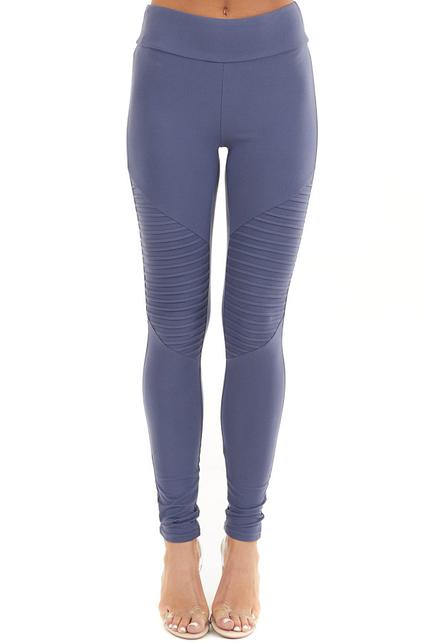 Stormy Blue High Waisted Stretchy Moto Leggings front view