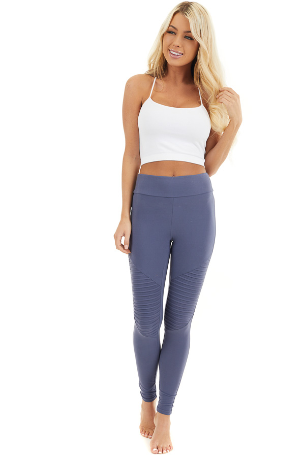 Stormy Blue High Waisted Stretchy Moto Leggings front full body