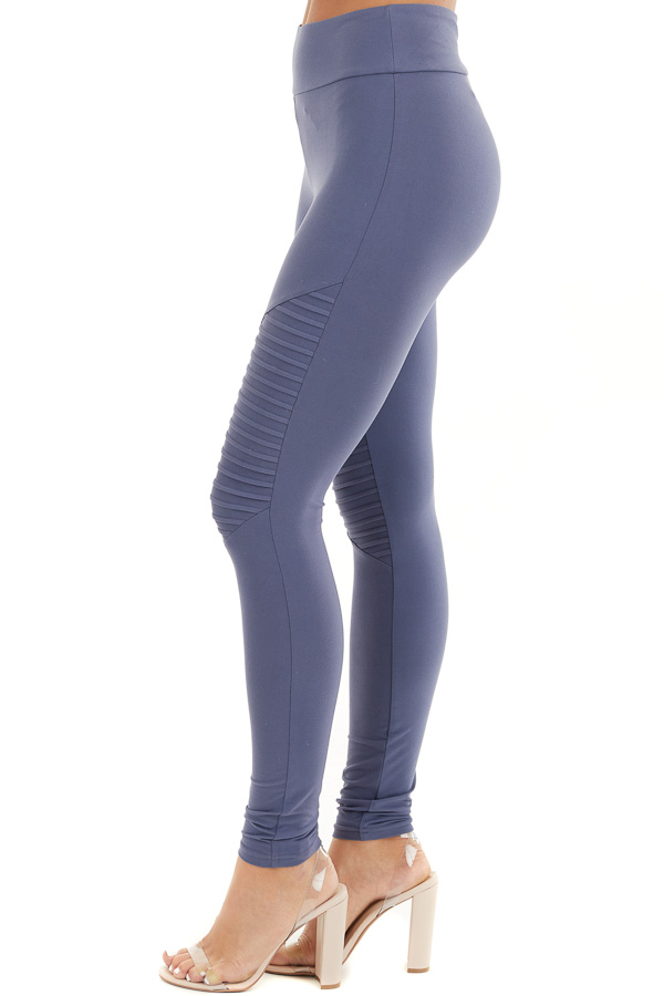 Stormy Blue High Waisted Stretchy Moto Leggings side view