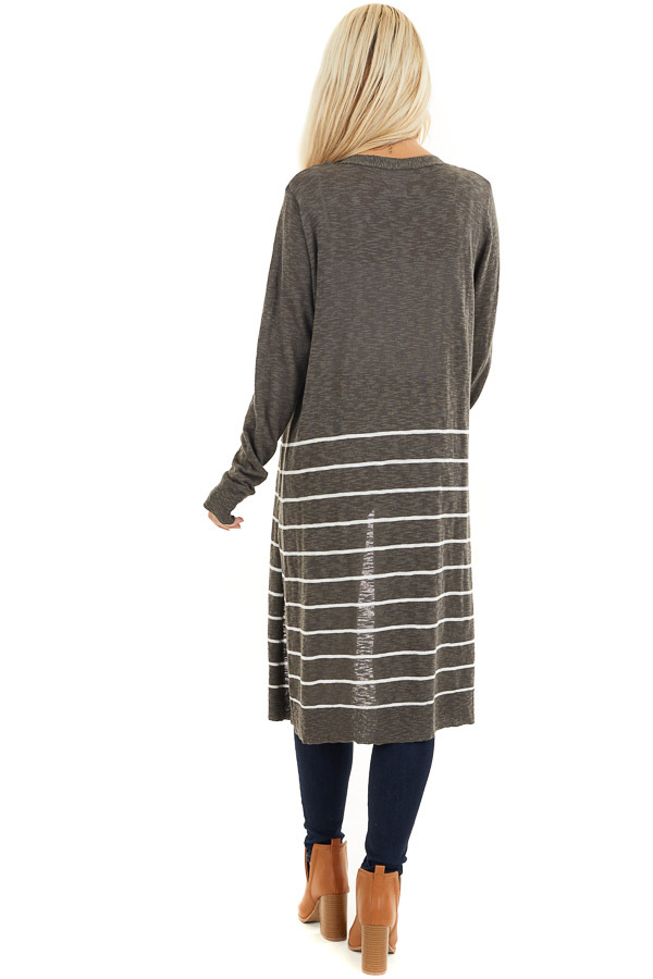 Charcoal and White Striped Cardigan with Long Sleeves back full body