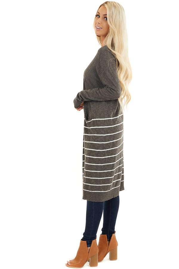 Charcoal and White Striped Cardigan with Long Sleeves side full body