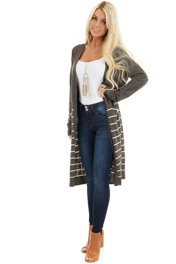Charcoal and White Striped Cardigan with Long Sleeves front full body