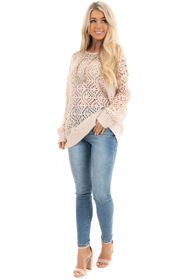 Blush Pointelle Sheer Lightweight Long Sleeve Sweater Top front full body