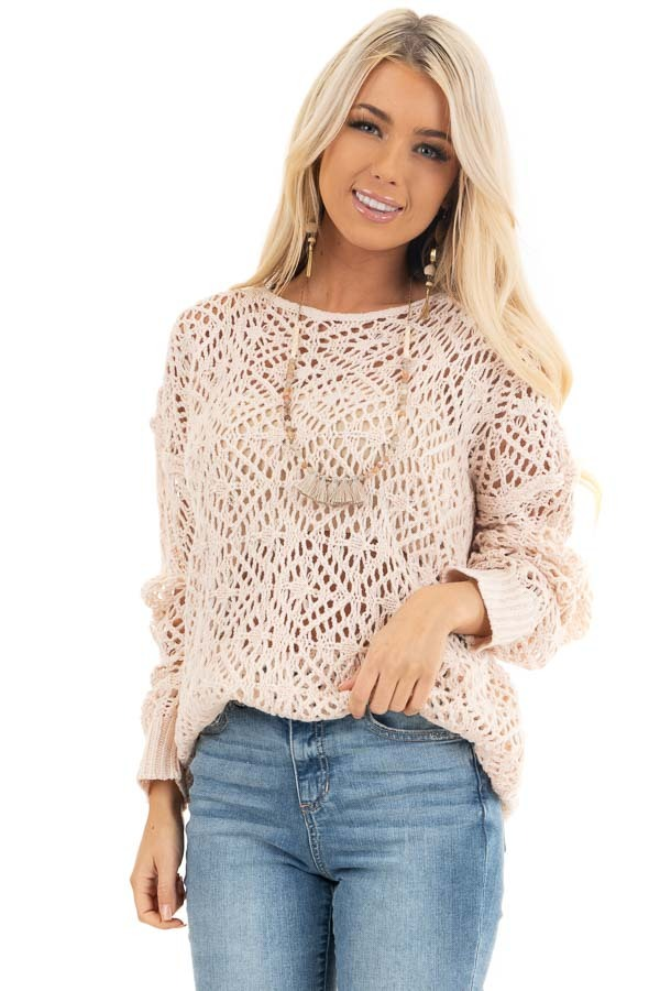 Blush Pointelle Sheer Lightweight Long Sleeve Sweater Top front close up