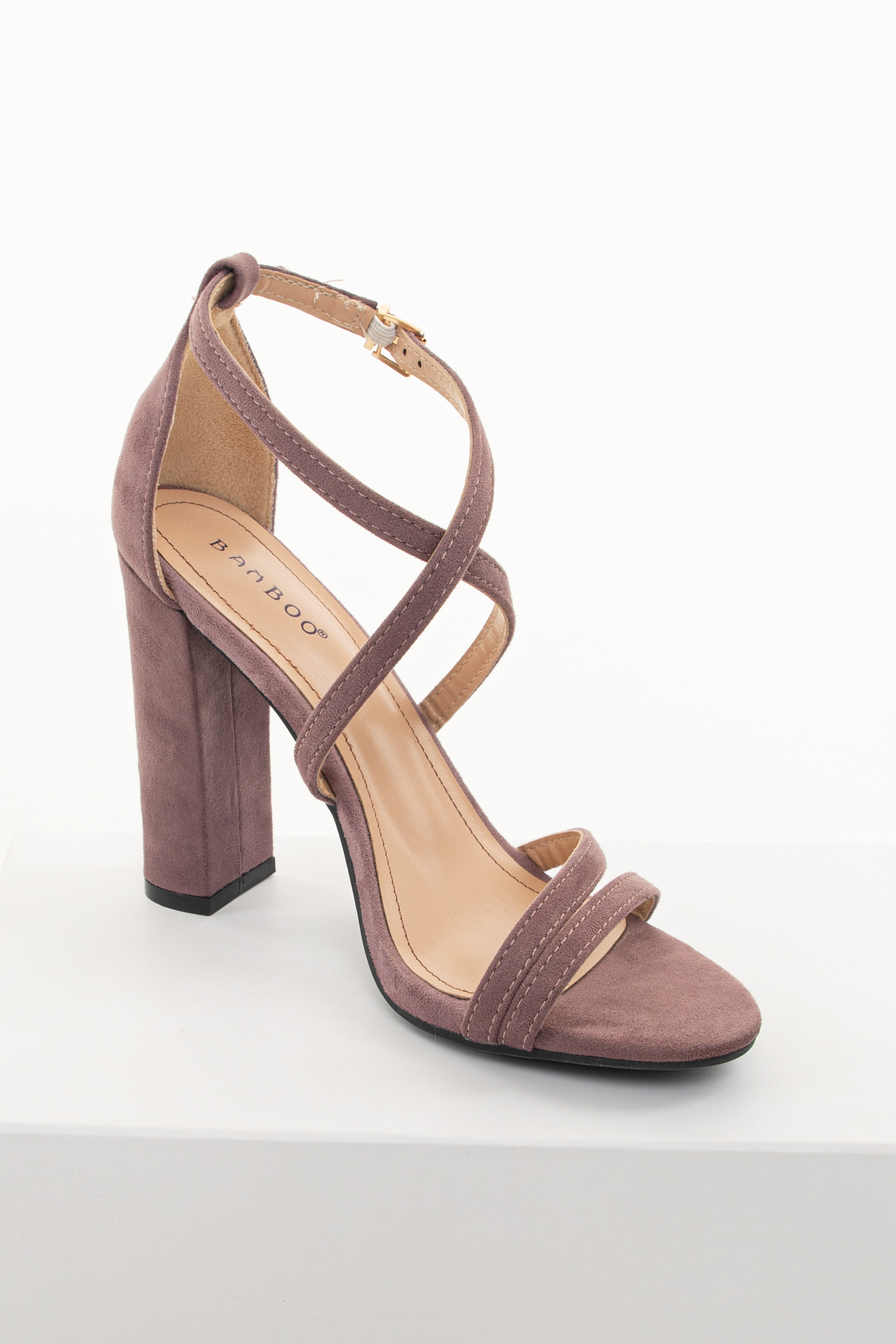 Lilac Faux Suede Chunky Heels with Strap and Buckle Details