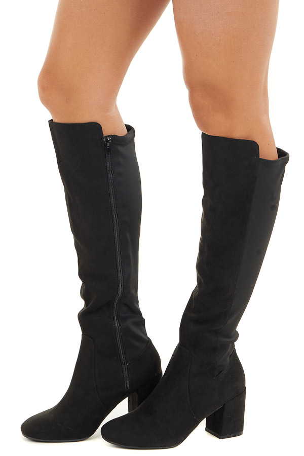 Black Heeled Faux Suede Tall Riding Boots