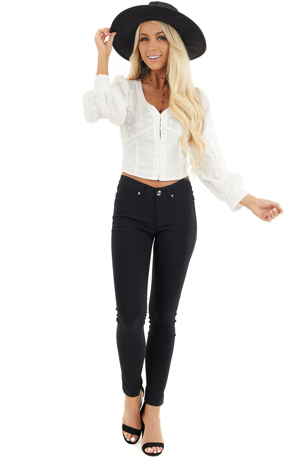 White Button Up Cropped Blouse with Embroidery Details front full body