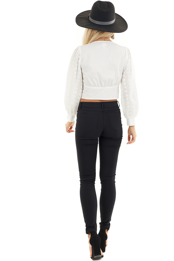 White Button Up Cropped Blouse with Embroidery Details back full body