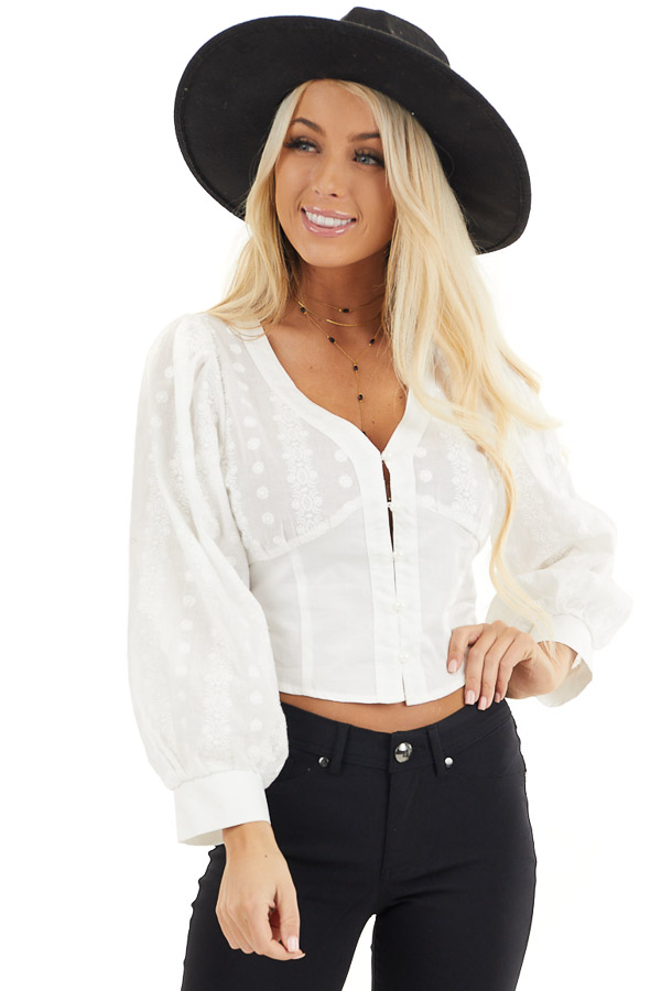 White Button Up Cropped Blouse with Embroidery Details front close up