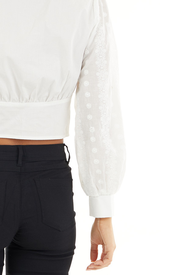 White Button Up Cropped Blouse with Embroidery Details detail