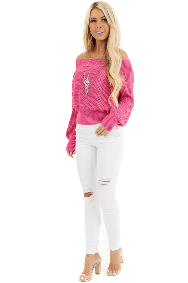 Hot Pink Off the Shoulder Ribbed Long Sleeve Sweater front full body