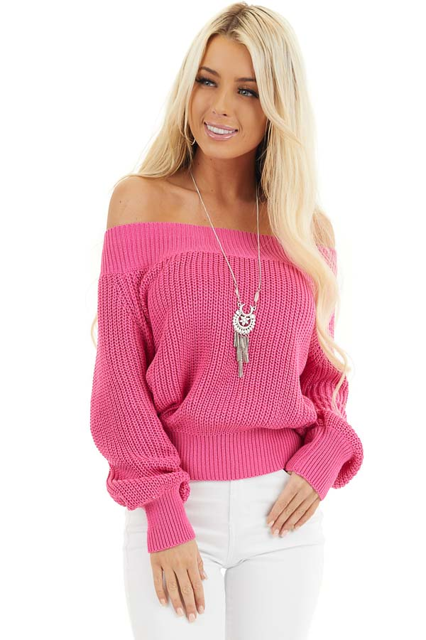 Hot Pink Off the Shoulder Ribbed Long Sleeve Sweater front close up