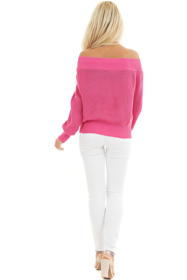Hot Pink Off the Shoulder Ribbed Long Sleeve Sweater back full body