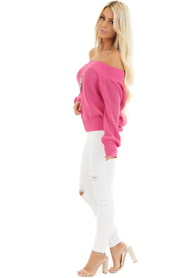 Hot Pink Off the Shoulder Ribbed Long Sleeve Sweater side full body