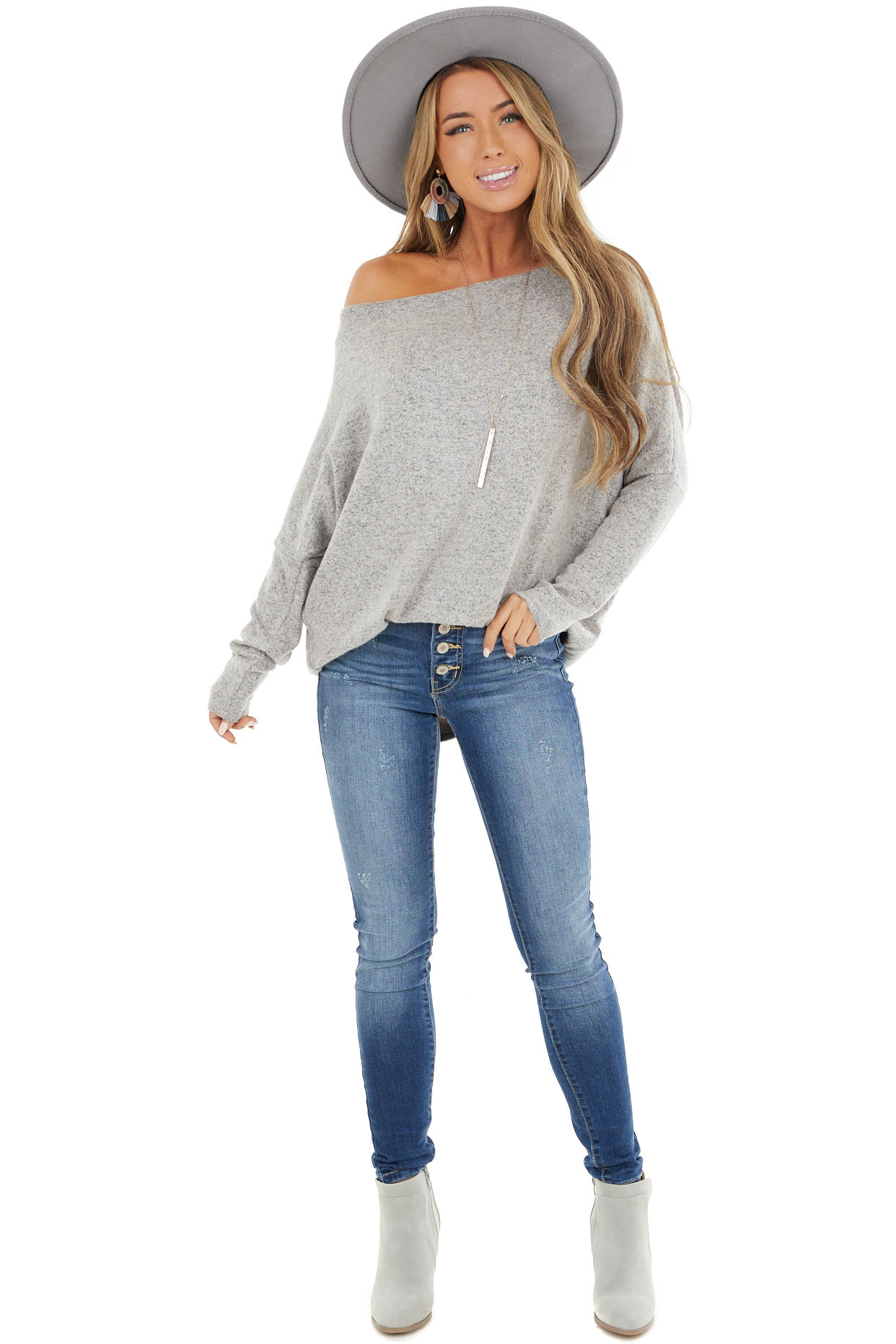 Oatmeal Off the Shoulder Knit Top with Dolman Sleeves