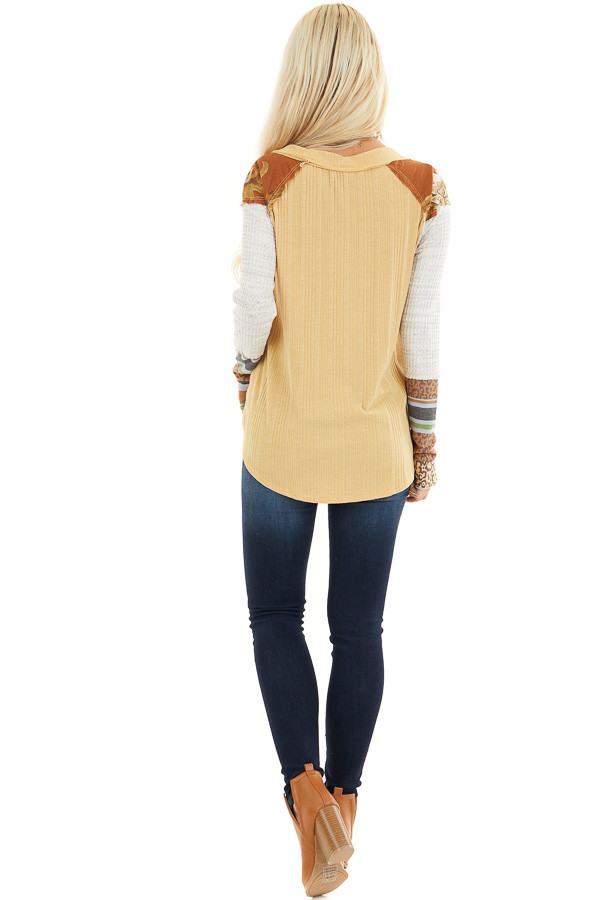 Mustard Ribbed Knit Top with Long Multi Print Sleeves back full body