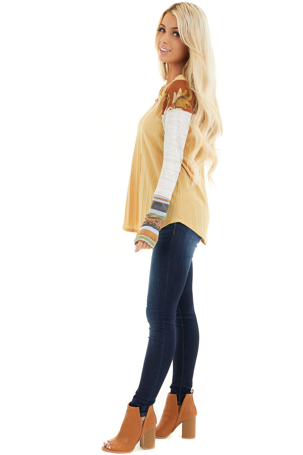 Mustard Ribbed Knit Top with Long Multi Print Sleeves side full body