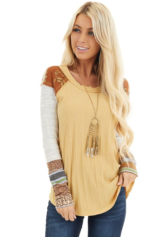 Mustard Ribbed Knit Top with Long Multi Print Sleeves front close up