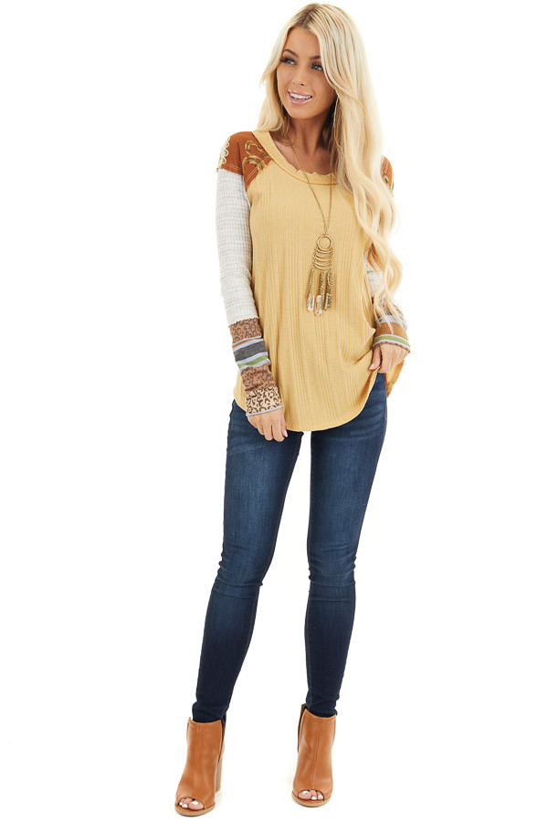 Mustard Ribbed Knit Top with Long Multi Print Sleeves front full body