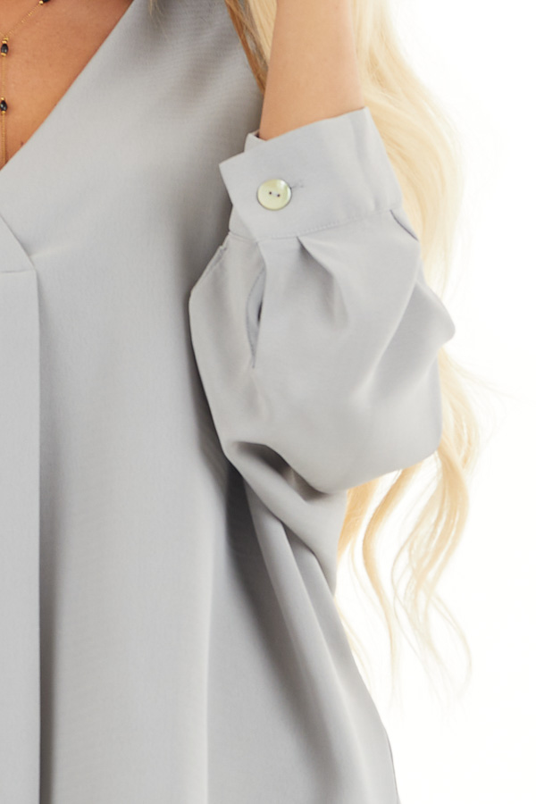 Dove Grey 3/4 Sleeve Flowy Top with V Neckline detail