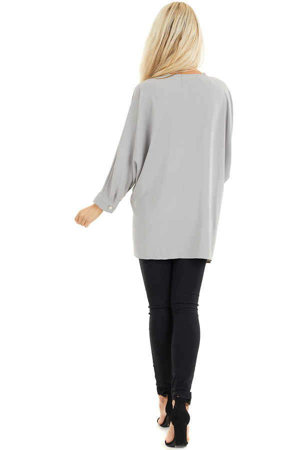 Dove Grey 3/4 Sleeve Flowy Top with V Neckline back full body