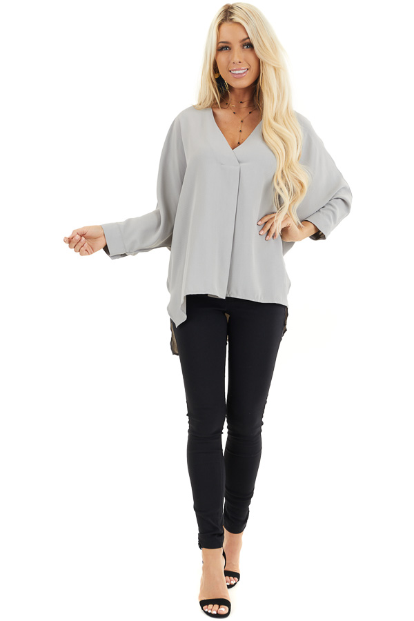 Dove Grey 3/4 Sleeve Flowy Top with V Neckline front full body