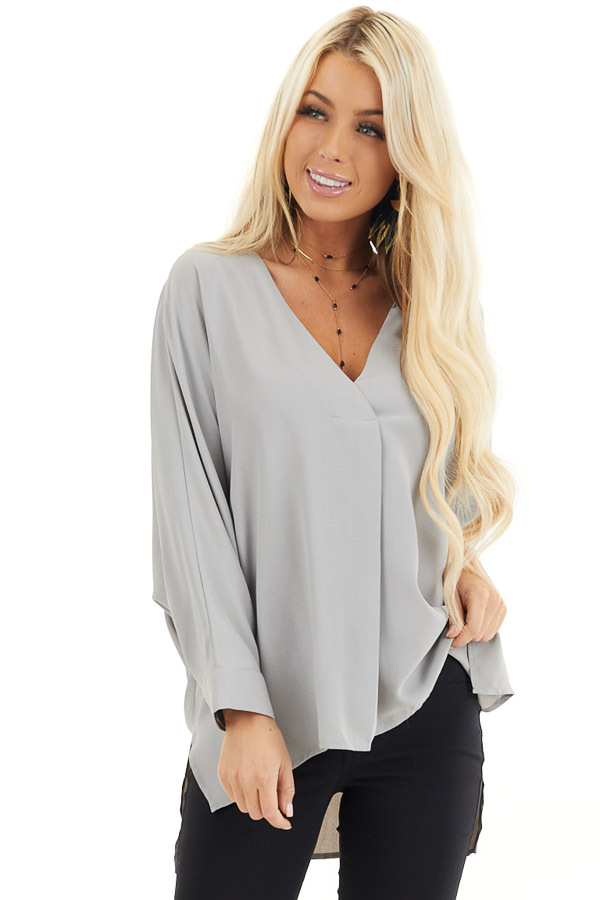 Dove Grey 3/4 Sleeve Flowy Top with V Neckline front close up